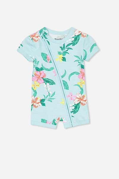 Mini Ss Zip Through Romper, AQUA TINT/TROPICAL FLORAL