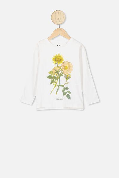 Penelope Long Sleeve Tee, WHITE/BOTANICAL FLOWERS