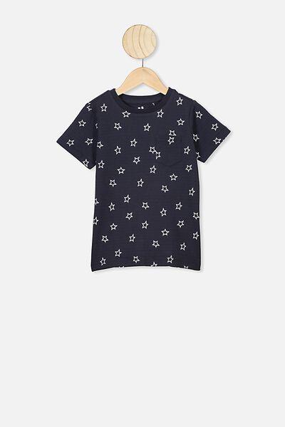 Louis Short Sleeve Texture Tee, NAVY/NIGHT SKY STARS