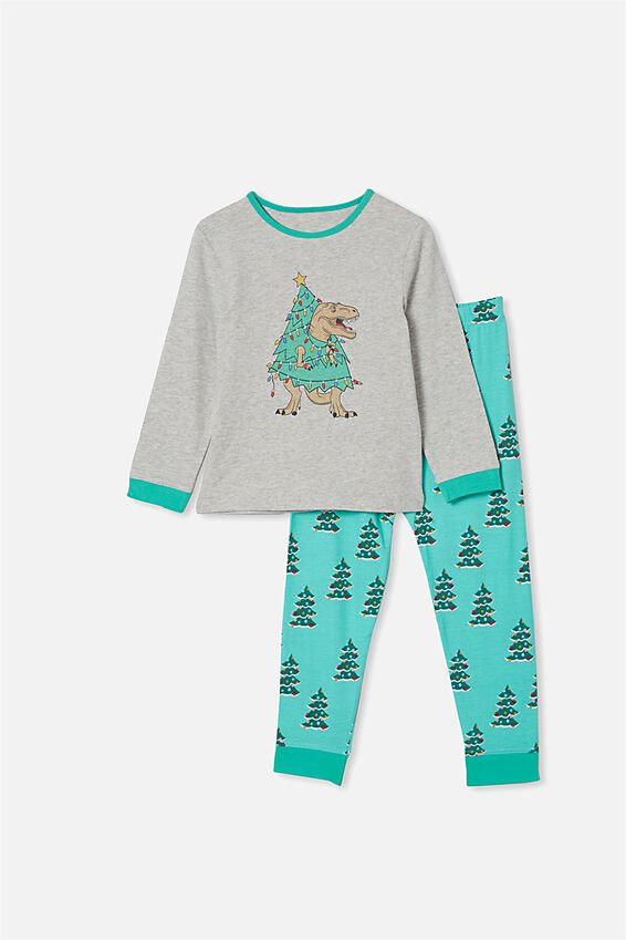 Orlando Long Sleeve Pyjama Set, TREE REX SUMMER GREY MARLE