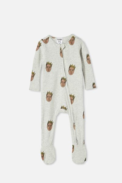 The Snug Long Sleeve Zip Romper Lcn, LCN MT CLOUD MARLE/BIGGIE SMALLS