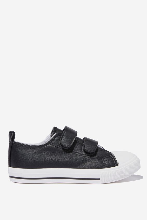 Classic Double Strap Trainer, BLACK SMOOTH