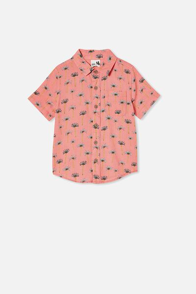 Resort Short Sleeve Shirt, PALM TREES/RETRO CORAL
