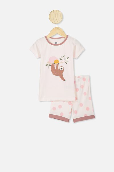 Nikki Short Sleeve Pajama Set, CRYSTAL PINK/HANGING SLOTH
