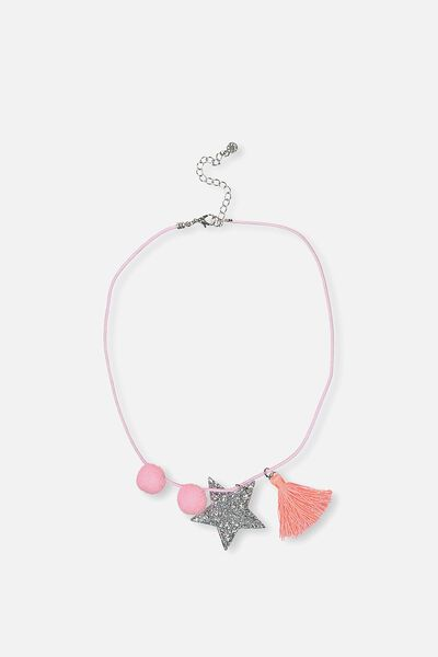 Glitter Charm Necklace, SILVER STAR