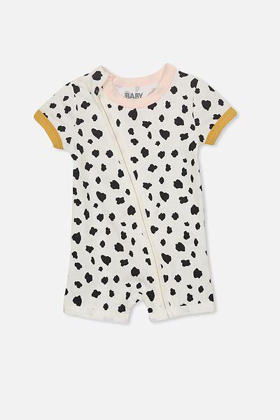 Mini Short Sleeve Zip Through All In One, VANILLA/MONO ANIMAL