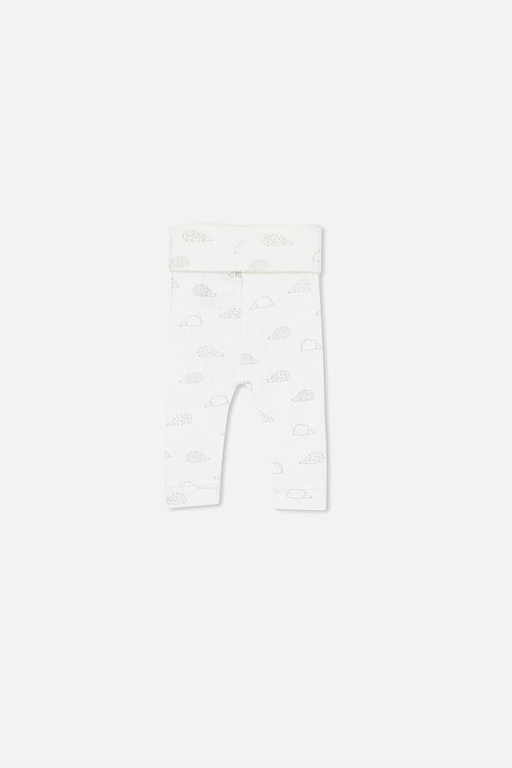 Newborn Leggings, MILK/HEDGEHOG