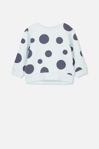 Billie Sweater, MINTY BLUE/LARGE SPOTS