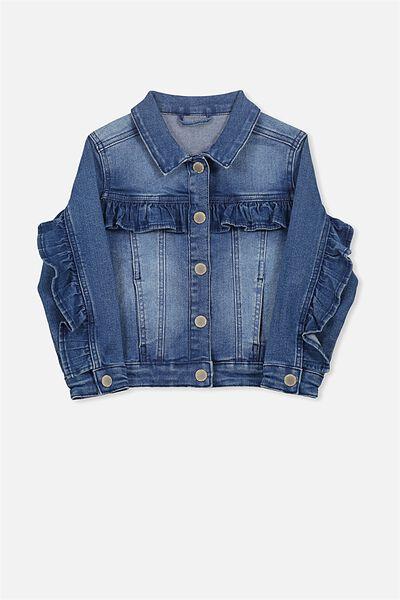 Dolly Frill Denim Jacket, MID BLUE WASH