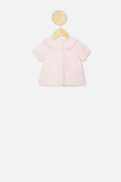 Tammy Ruffle Neck Top, CRYSTAL PINK