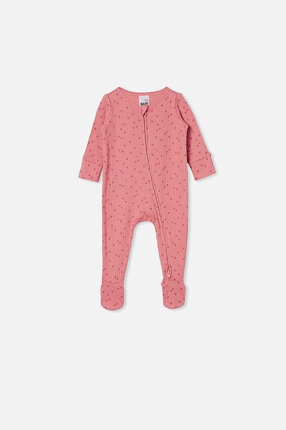 Organic Newborn Zip Through Romper, MUSK ROSE/SCATTERED HEARTS