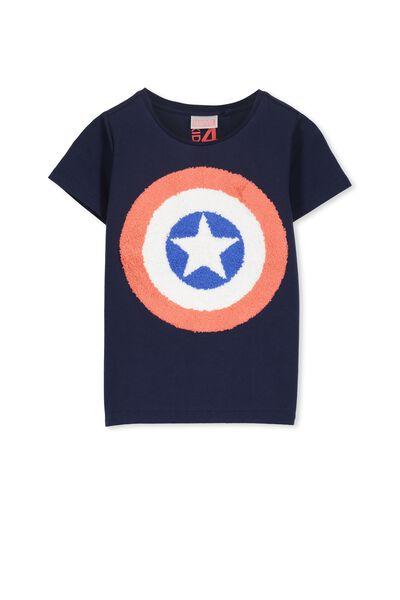 Boys Captain America Short Sleeve Tee, NEW PEACOAT/CAPTAIN AMERICA