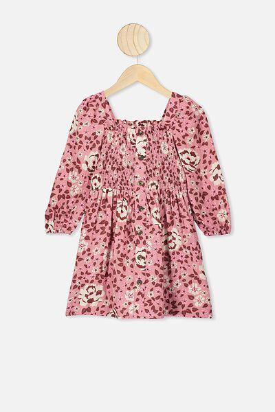Lindsay Long Sleeve Dress, KIP&CO/MUSK ROSE FOREST FLOOR
