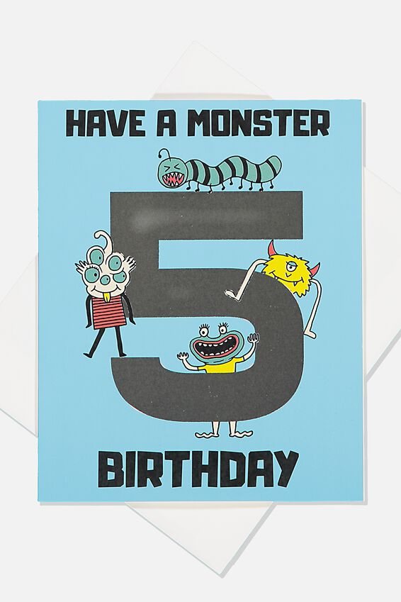 Alex Birthday Card, 5TH BIRTHDAY MONSTER