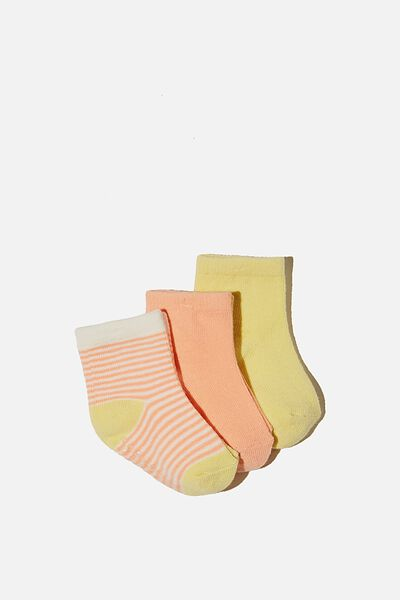3Pk Baby Socks, MUSK MELON/LEMON POP STRIPE
