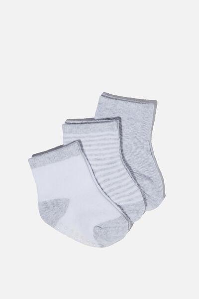 3Pk Baby Socks, GREY MARLE