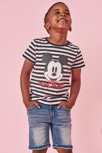 Short Sleeve License1 Tee, LCN DIS MICKEY/STRIPE