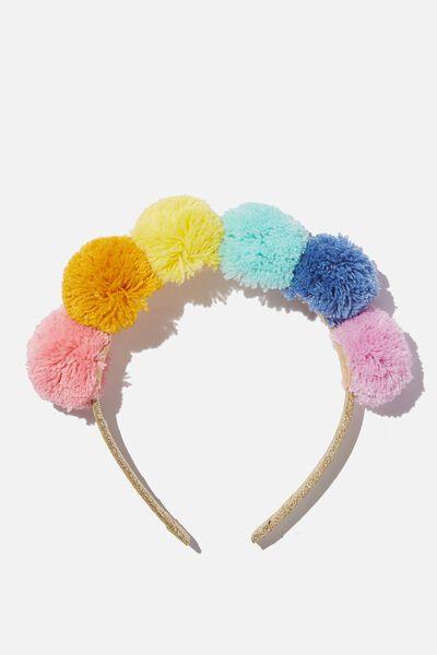 Headband - Novelty, PASTEL BRIGHTS POM POM