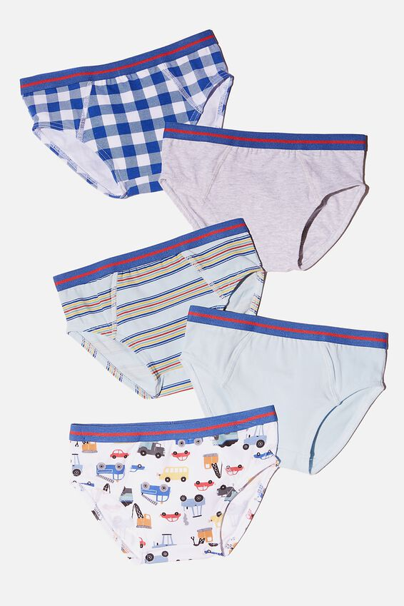 Boys 5 Pack Brief, TRUCKS AND MOTORBIKES