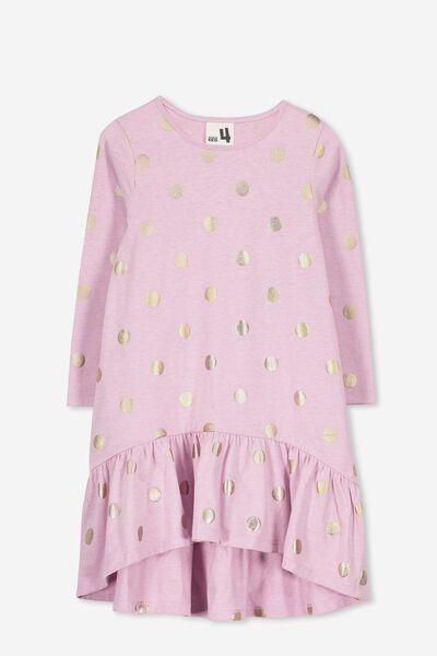 Joss Long Sleeve Dress, WILDFLOWER PINK MARLE/SPOT