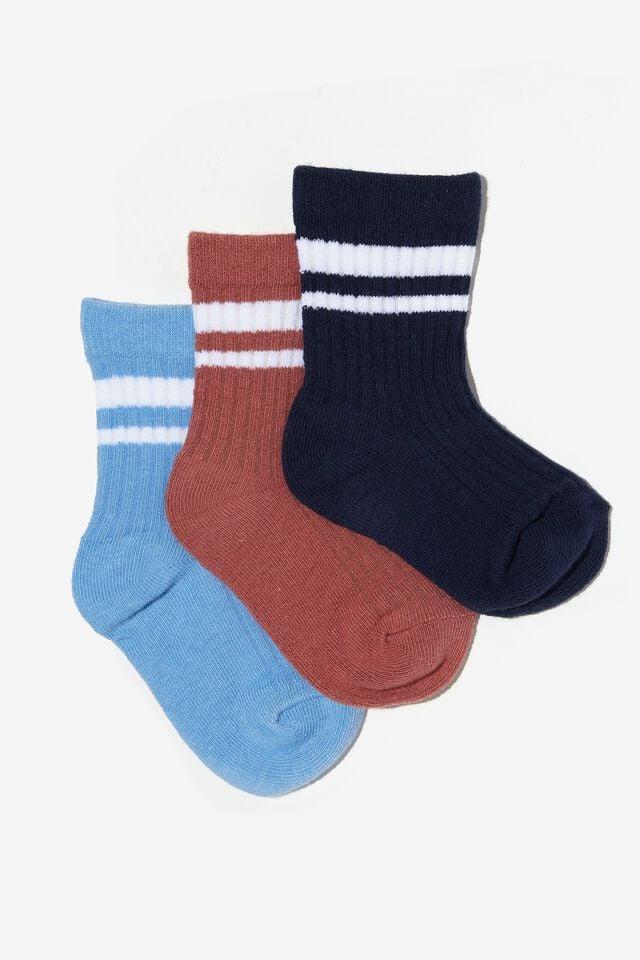 Kids 3Pk Crew Socks, NAVY/CHUTNEY RETRO