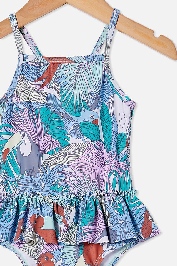 Lucinda Ruffle Swimsuit, DREAM BLUE/TROPICAL BIRD PARTY