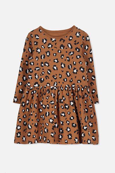 Lani Long Sleeve Dress, WALNUT/ANIMAL