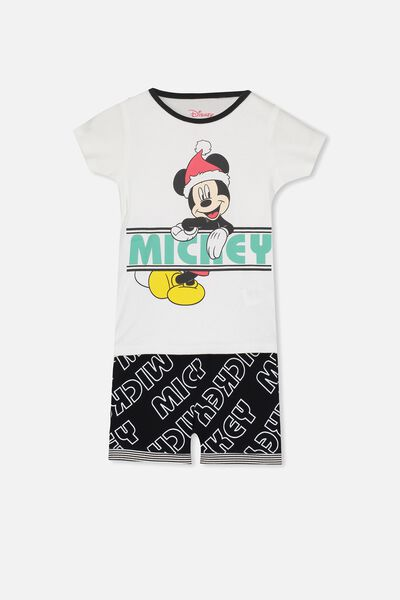 Joshua Short Sleeve Pyjama Set, LCN MICKEY MONOCHROME