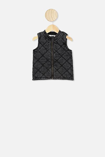Lewis Quilted Vest, BLACK