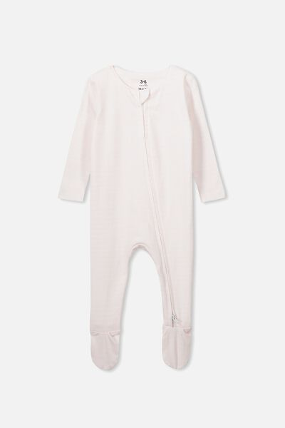 The Snug Long Sleeve Zip Romper, CHRIS STRIPE CRYSTAL PINK/WHITE
