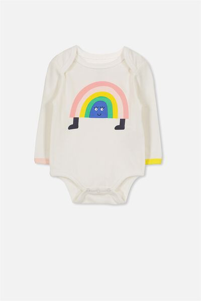 Mini Long Sleeve Bubby, VANILLA/RAINBOW PLACEMENT