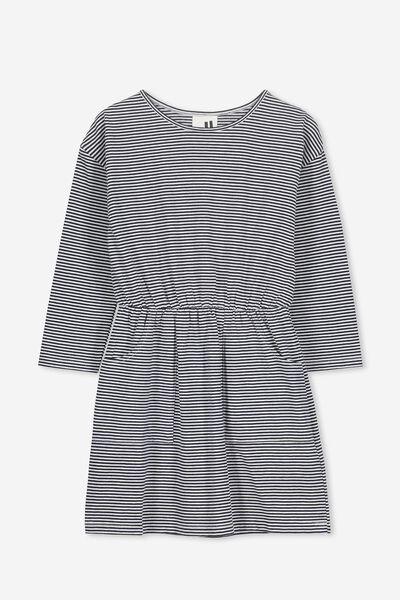 Mara Long Sleeve Dress, PEACOAT/VANILLA STRIPE