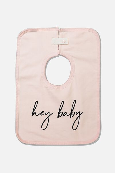 The Everyday Bib, CRYSTAL PINK/HEY BABY