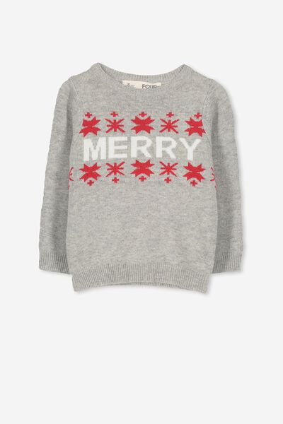 Milly Knit, GREY MARLE/FAIRISLE MERRY