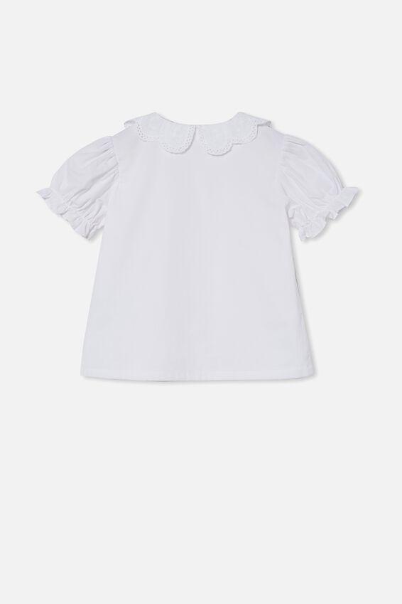 Casey Collar Short Sleeve Top, WHITE