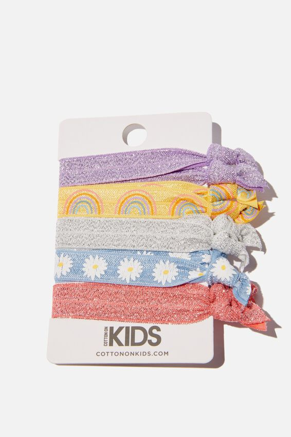 Knot Messy Hair Ties, RAINBOW AND DAISIES