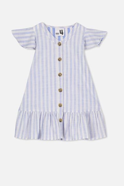 Lola Short Sleeve Dress, CORNFLOWER BLUE STRIPE