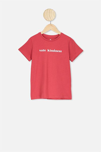 Penelope Short Sleeve Tee, LUCKY RED/VOTE KINDNESS