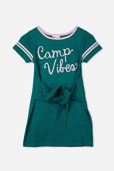 Montana Short Sleeve Dress, EMERALD/CAMP VIBES