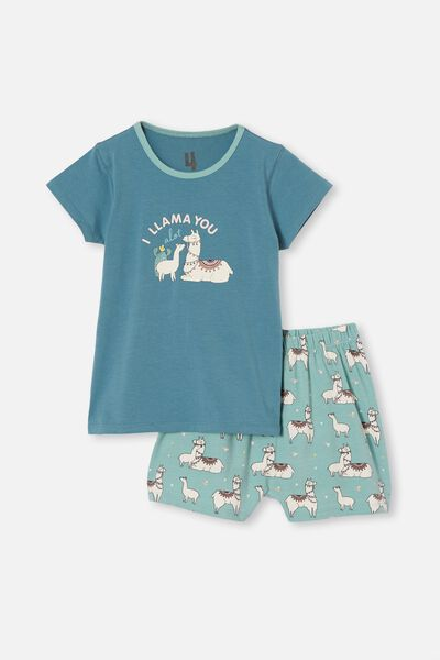Harpa Short Sleeve Pyjama Set, I LLAMA YOU TEAL STORM