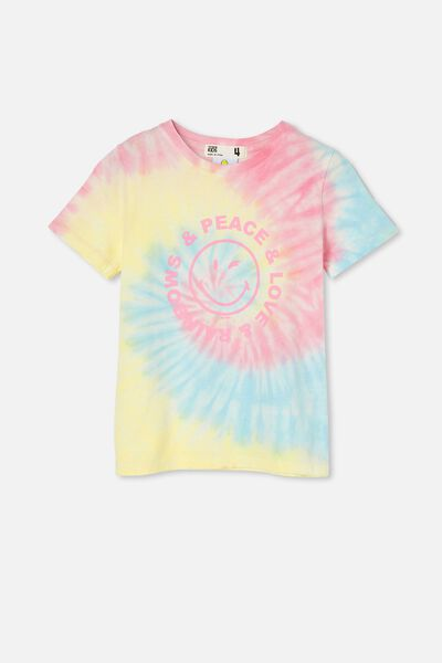 License Short Sleeve Tee, LCN SMI SMILEY LOVE PEACE/RAINBOW TIE DYE