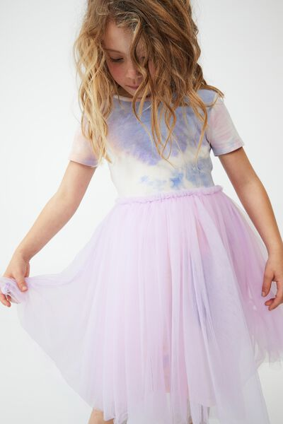 Ivy Dress Up Dress, PALE VIOLET/RAINBOW TIE DYE