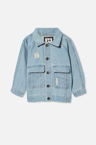 Tobi Utility  Denim Jacket, BLEACH WASH