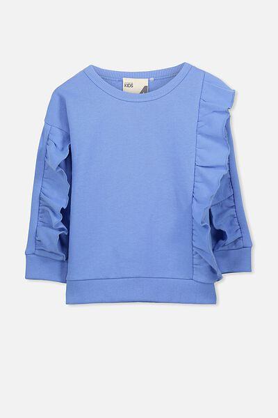 Sage Front Frill Sweatshirt, BLUE DAISY