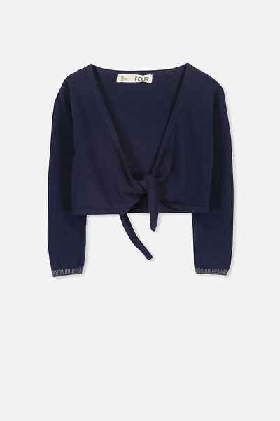 Annabelle Tie Front Cardigan, PEACOAT/SILVER