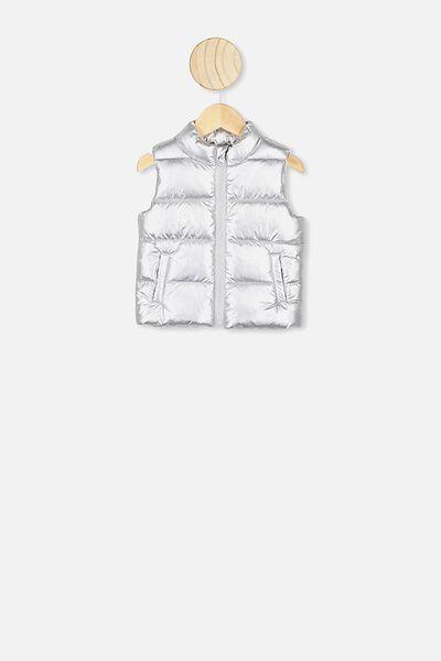 Morgan Puffer Vest, SILVER METALLIC
