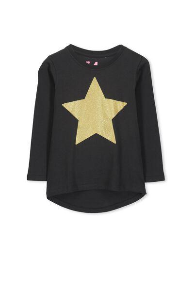 Penelope Long Sleeve Curved Hem, PHANTOM/GLITTER STAR