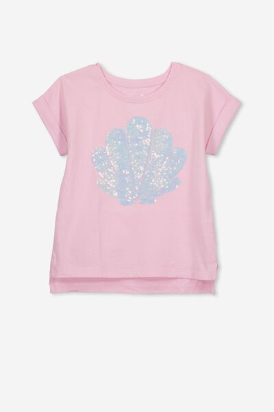 Anna Short Sleeve Stepped Hem Tee, PINK LADY/MERMAID PARTY