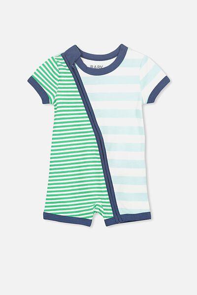 Mini Short Sleeve Zip Through All In One, MORRIS BLUE/SIMPLY GREEN MULTI STRIPE