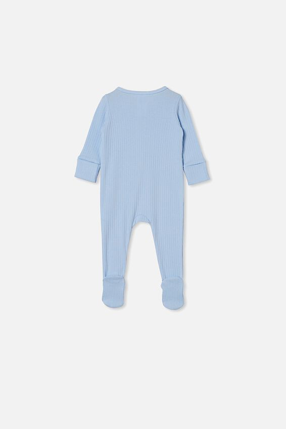 Organic Newborn Zip Through Romper, WHITE WATER BLUE